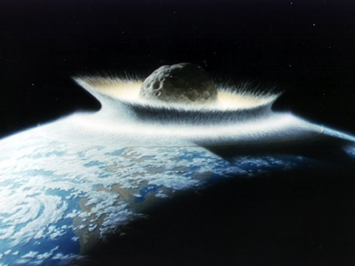 Image Credit: NASA/Don Davis. Impression of the Earth being hit by a very large meteorite