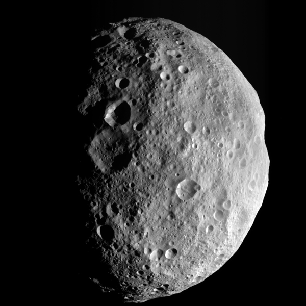 Image credit: NASA/JPL.  This image is from the last sequence of images NASA's Dawn spacecraft obtained of the giant asteroid Vesta, looking down at Vesta's north pole as it was departing.