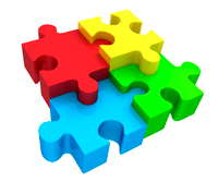 Red, yellow, blue and green jigsaw pieces