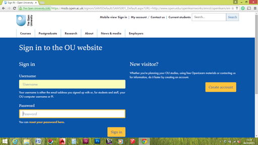 Screenshot of Open University sign up for an account web page