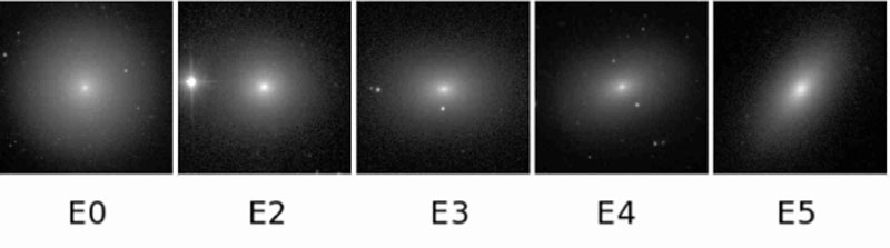 Examples of elliptical galaxy morphologies