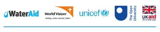 Logos for OneWASH, Government of Ethiopia, World Vision, UNICEF and The Open University