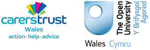 Carers Trust logo and The Open University in Wales logo