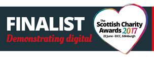 Shows heart with Scottish Charity Awards 2017 22 June Edinburgh in text inside it, plus the words Finalist Demonstrating Digital