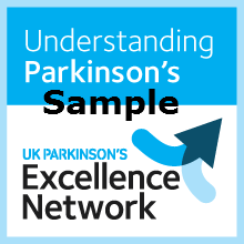 Understanding Parkinson's Sample text with Excellence Network logo including arrows