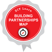 Illustration of DIY Learn BUILDING PARTNERSHIPS MAP digital badge