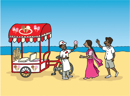 Cartoon of ice cream seller standing in front of his cart on a beach holding up an ice cream cornet and two people approaching him