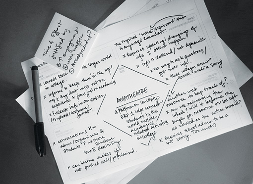 Evidence Planning Template –photo of two sheets of paper with hand writing plus a smaller written note on top of each other with a pen laid at the side