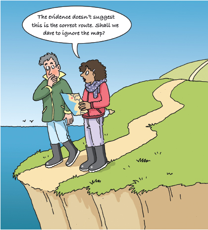 """Cartoon of two people looking at a map at the end of a path on cliff edge with speech bubble """"The evidence doesn't suggest this is the correct route. Shall we dare to ignore the map?"""""""