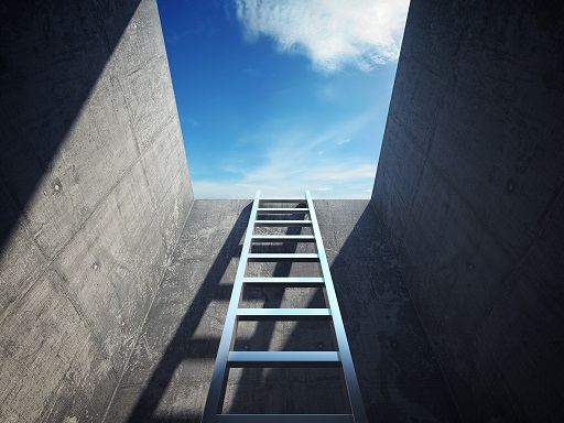 A ladder leading up to the sky