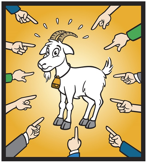 Eleven hands pointing at a goat. The goat is wearing a bell and has a startled expression on its face.