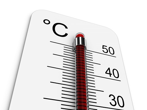 Image of a thermometer indicating a temperature of over 50°C.