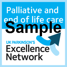 Sample Palliative and End of Life Care badge from UK Parkinson's Excellence Network