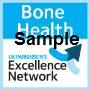 Badge with Bone Health Sample at the top and UK Parkinson's Excellence Network at the bottom with arrows