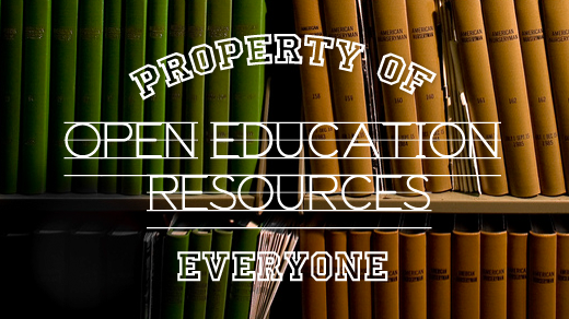 Property of Everyone - Open Educational Resources (in front of books on a shelf)