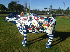 Moo! painted model cow