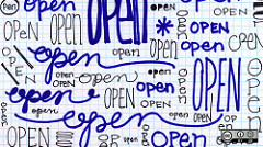 The word 'open' written many times