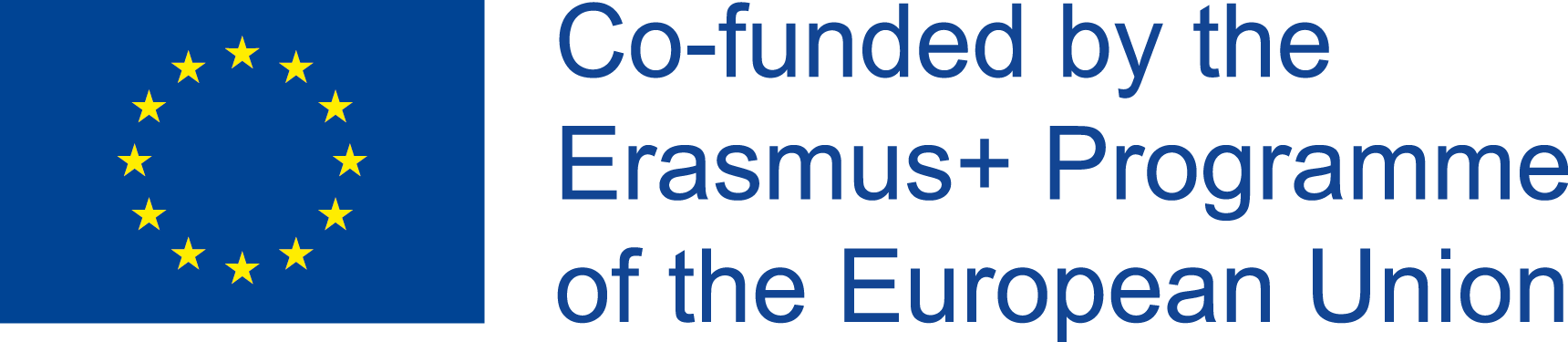 "The EU logo and the text ""co-funded by the ERASMUS+ Programme of the European Union"