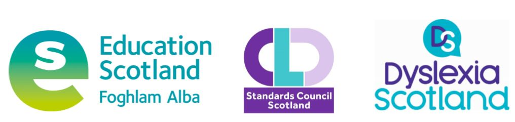 Education Scotland logo, CLD Standards Council Scotland logo, Dyslexia Scotland logo