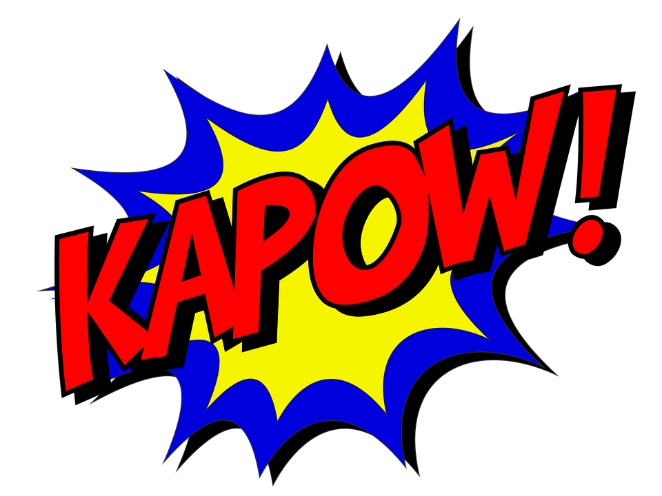The word Kapow! is in red atop a blue and yellow star