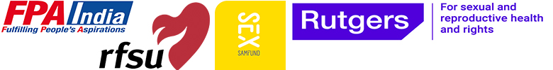 logos of Family Planning Association of India (FPAI), RFSU of Sweden, Sex & Samfund of Denmark and Rutgers of Netherlands.