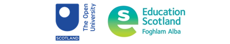 The combined logos of The Open University in Scotland and Education Scotland
