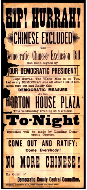 A poster from 1882 created in favor of the Chinese Exclusion Act