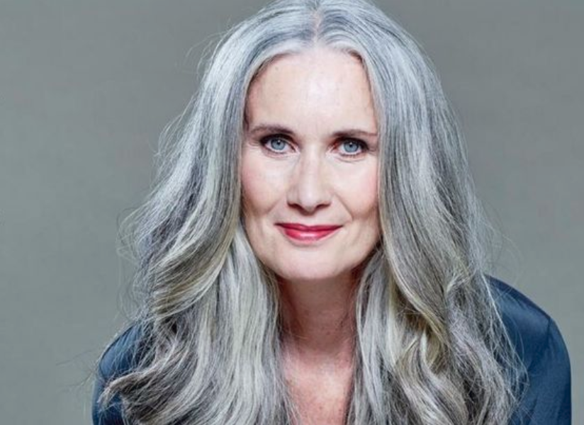 Woman with long gray hair