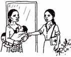 A HEP visiting a mother and baby