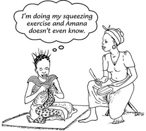 A woman doing her squeezing exercised unnoticed by her friend