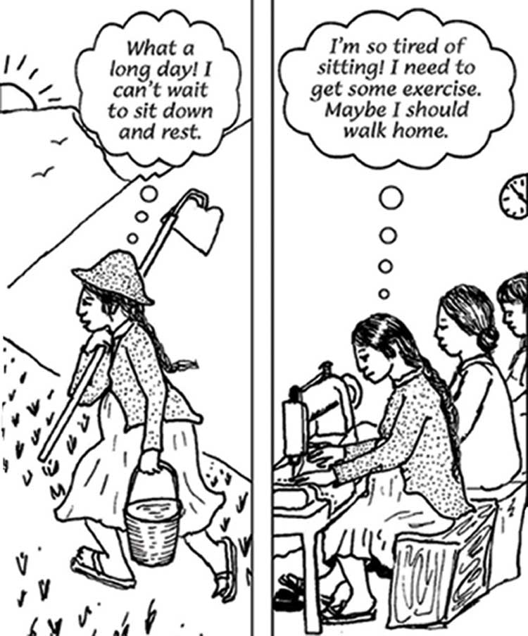 A woman working in the fields and a woman sitting sewing all day, they are both tired