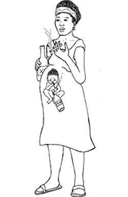 A Pregnant woman is smoking a cigarette and drinking a bottle of alcohol. On the front of her dress is an image of the baby inside her also drinking a bottle of alcohol and smoking a cigarette