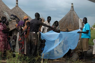 A group of people are gathered outside their homes demonstrating how to use the insecticide-treated bed nets. A woman and child are seated underneath it.