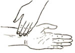 A persons hand placed on someone's wrist to check their pulse.