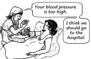 A pregnant woman is lying on a bed and a health worker is taking her blood pressure. The worker says that the blood pressure is too high and she thinks that they should go to the hospital.