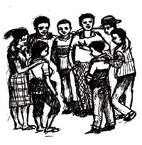 Young people standing in a circle