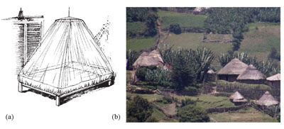 (a) A circular bed net. (b) Traditional Ethiopian 'tukul' round houses.