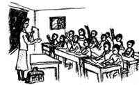 A sketch of a woman presenting to a class of children.