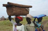 A woman carrying a basket on her head walks with another woman who is carrying a small child. The small child is carrying a new bed net on their head.