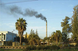 Air pollution from an industrial source