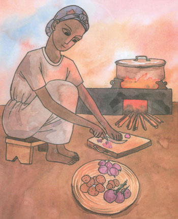 Woman preparing food in front of a stove