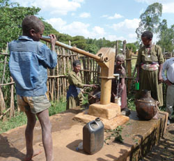 Collecting water from a pump