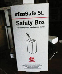 Safety box in use