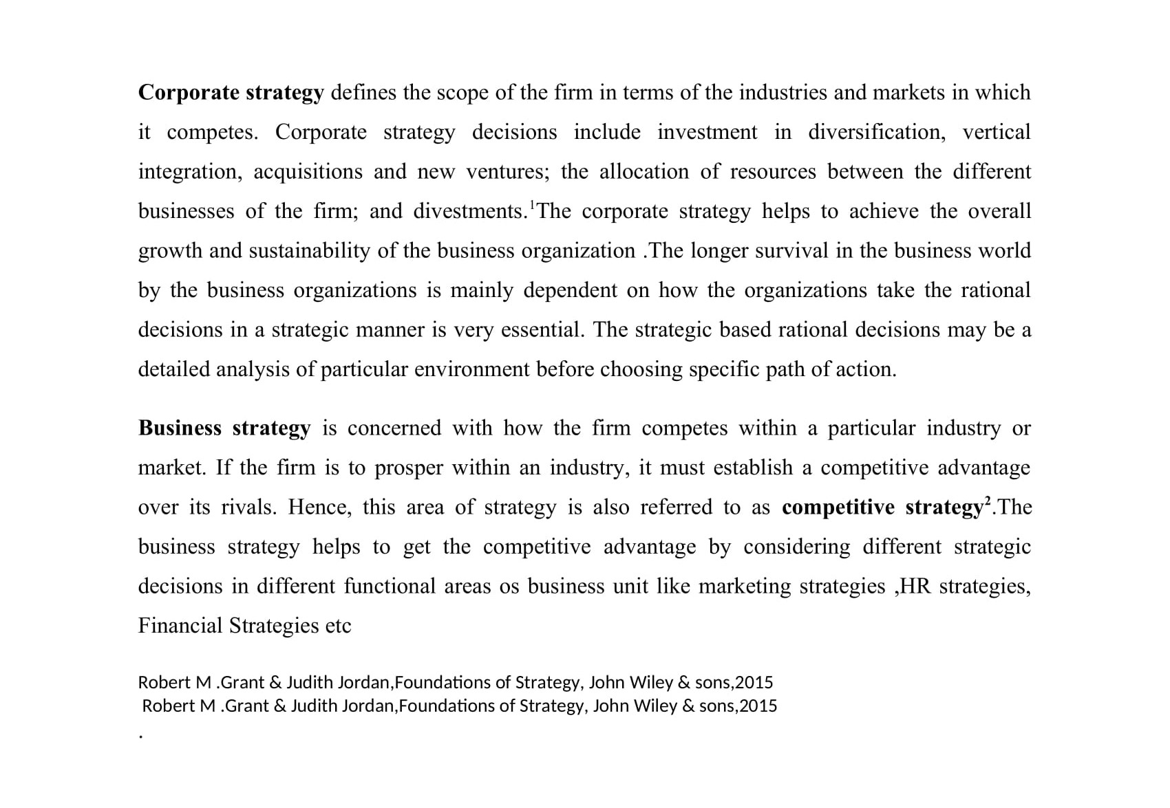 Corporate strategy V/S Business strategy
