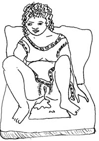 A woman is sitting with her legs bent and apart. You can see amniotic fluid coming from her vagina.