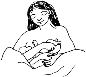 A mother breastfeeding her baby.
