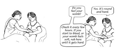 A heal;th extension worker shows a woman how to rub her own uterus.