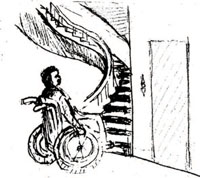 Man in a wheelchair at the bottom of some stairs