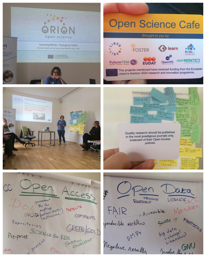 Pictures showing Emma Harris giving a presentation, an Open Science Cafe card, and two flipcharts with open science concepts written on them