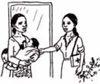 A Health Extension Worker is smartly dressed as she greets a family.